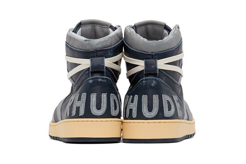RHUDE Rhecess Hi Sneakers Georgetown Release Grey Navy Rhuigi SSENSE Info