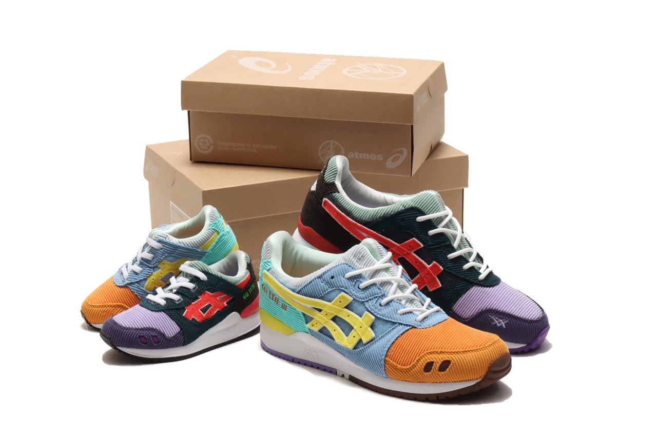 sean wotherspoon round two atmos asics gel lyte iii 3 corduroy mens kids velcro 1203A019 1204A018 000 purple blue orange yellow green white black official release date info photos price store list buying guide