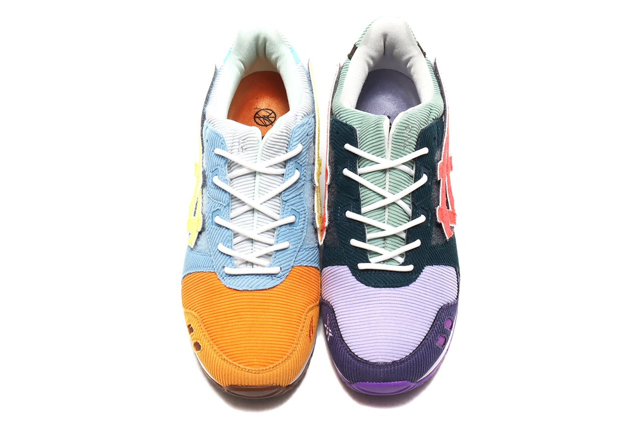 sean wotherspoon round two atmos asics gel lyte iii 3 corduroy mens kids velcro 1203A019 1204A018 000 purple blue orange yellow green white black official global release date info photos price store list buying guide