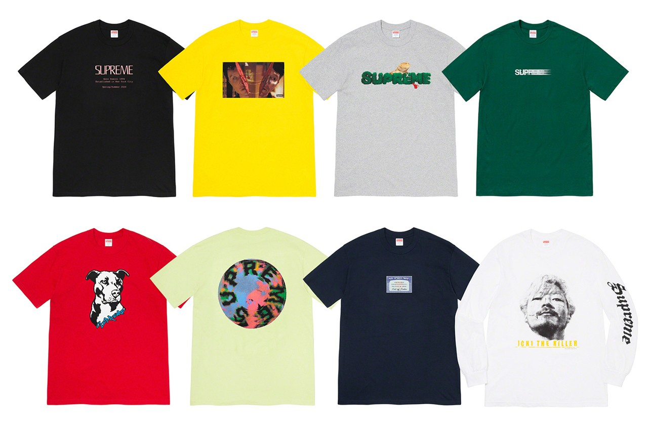 Supreme Summer 2020 t-shirt tees closer look first motion logo box dog frog takashi miike ichi the killer release information buy cop purchase details
