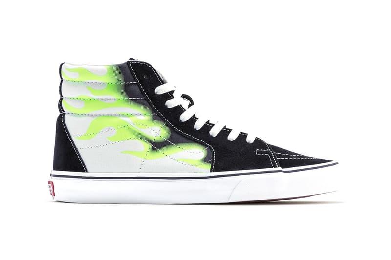 Vans Old Skool & SK8-Hi Sport Neon Flame Graphic Black Suede Sneaker Release Information Green White Graffiti Spray Paint Skateboarding Footwear Shoes HBX