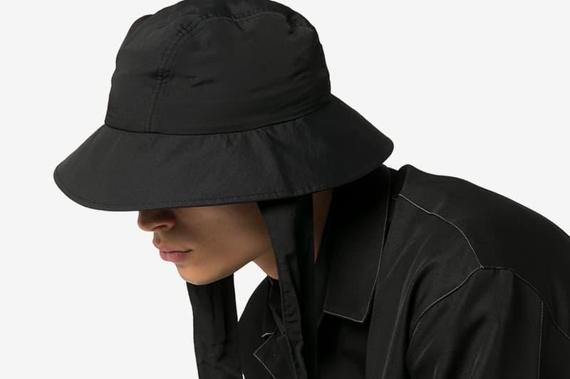 Y-3 Black Strap Detail Bucket Hat Yohji Yamamoto Hats Bucket Hats headwear monochrome Japanese Designers sports y3