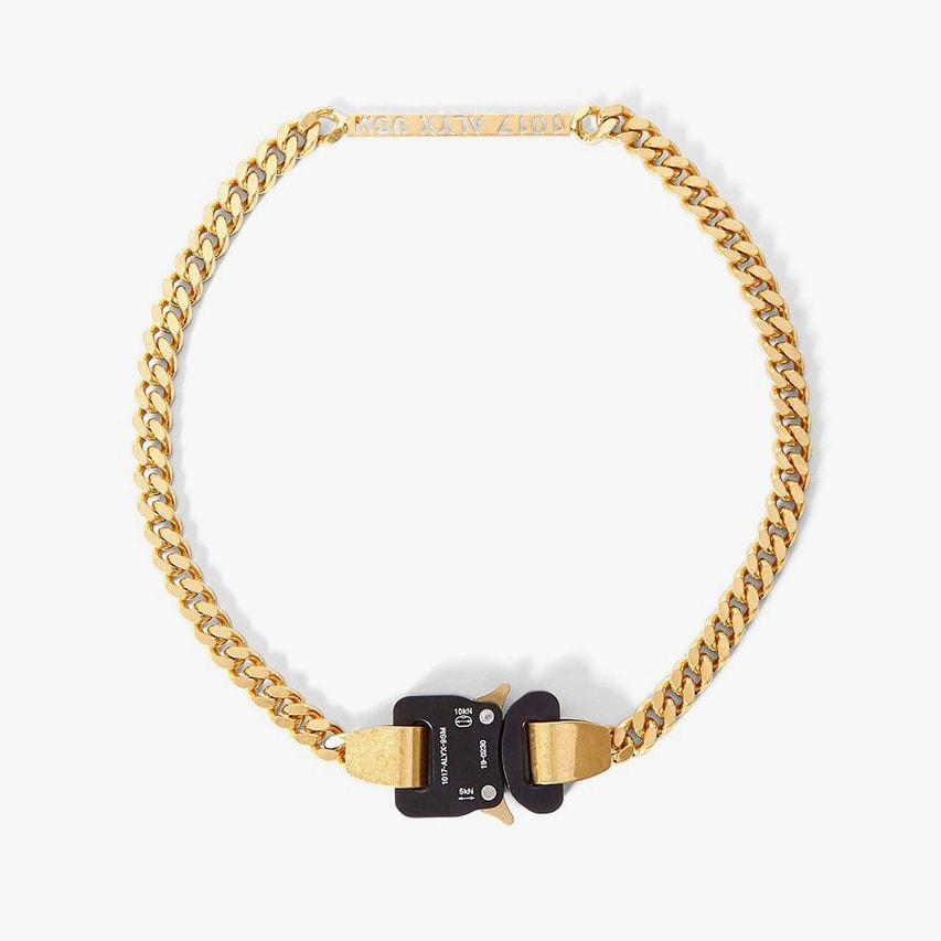 1017 ALYX 9SM Buckle Gold Nameplate Necklace Matthew Williams Cobra Belt Buckle