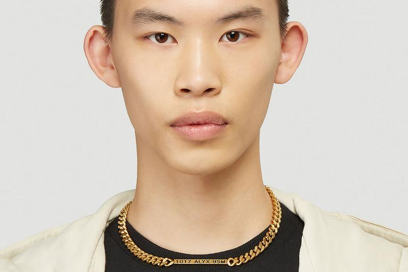 1017 ALYX 9SM Buckle Necklace Gold-Toned Spring/Summer 2020 SS20 Matthew M. Williams LN-CC Necklaces Jewelry Rollercoaster Antique Effect Logo Panel Laser Cut Details Luxury Streetwear