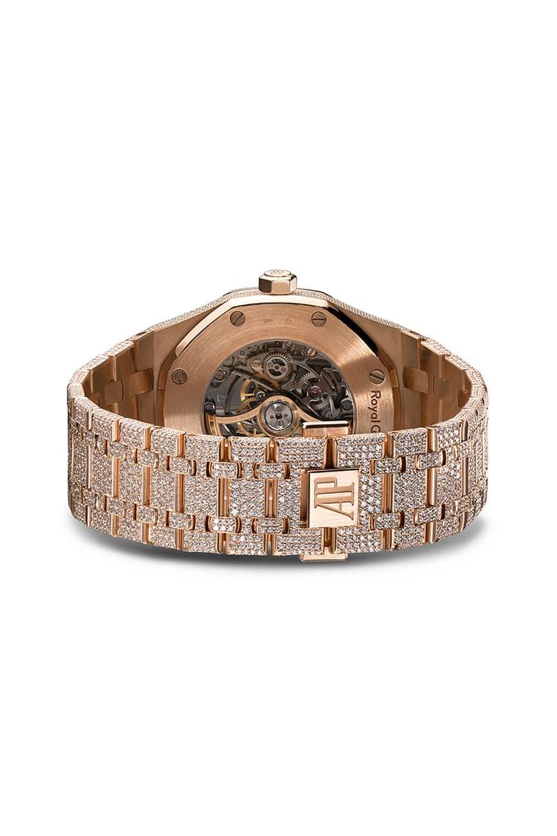 18K Rose Gold 777 Customized Audemars Piguet Royal Oak Skeleton Diamond Encrusted Watch Timepiece Browns London Jeweler Jewelry $281,741 USD Octagonal Bezel