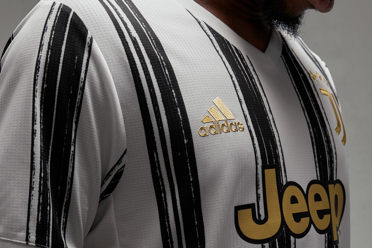juventus adidas football 2020 2021 serie a home kit shirt jersey white black stripes brush strokes ronaldo buy cop purchase