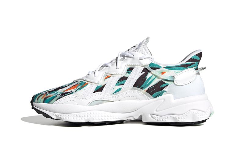 """adidas Ozweego """"Cloud White / Cloud White / Core Black"""" """"Core Black / Core Black / Cloud White"""" FZ4089 FZ3829 Adiprene+ Three Stripes Geometric Mesh Jungle Color Print Sneaker Release Information Closer Look Drop Date"""