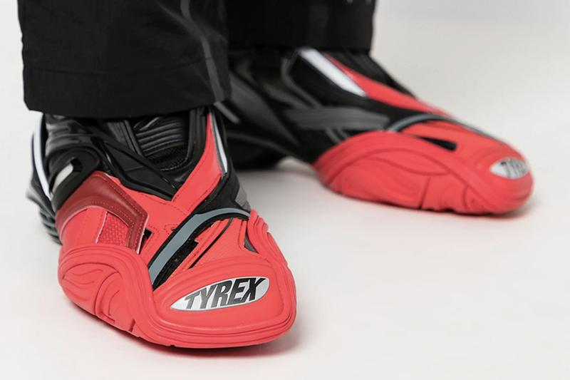 "Balenciaga Tyrex Sneaker ""Black/Red"" Bred Colorway Release Information Futuristic Footwear Drop Demna Gvasalia 3M Technical Shoes Closer Look"