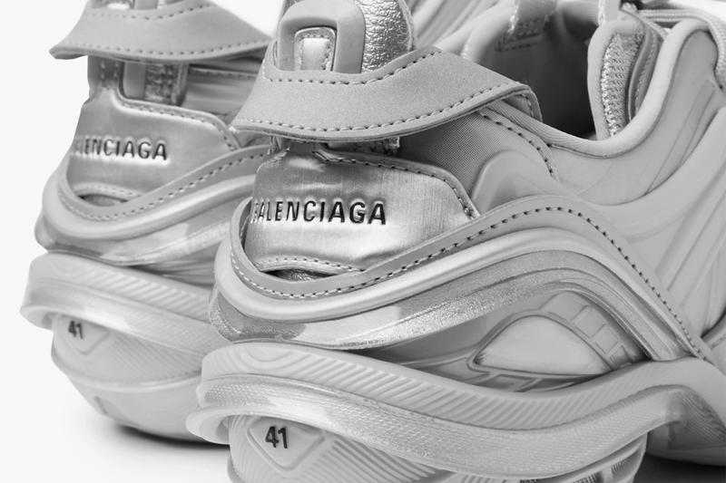 Balenciaga Silver Tyrex Sneaker Nylon Mesh Faux Leather Rubber Spring Summer 2020 SS20 Demna Gvasalia Sneaker Shoes Footwear Trainers Drop Date Release Information Mr Porter Technical Futuristic Runner 617535W2WA1