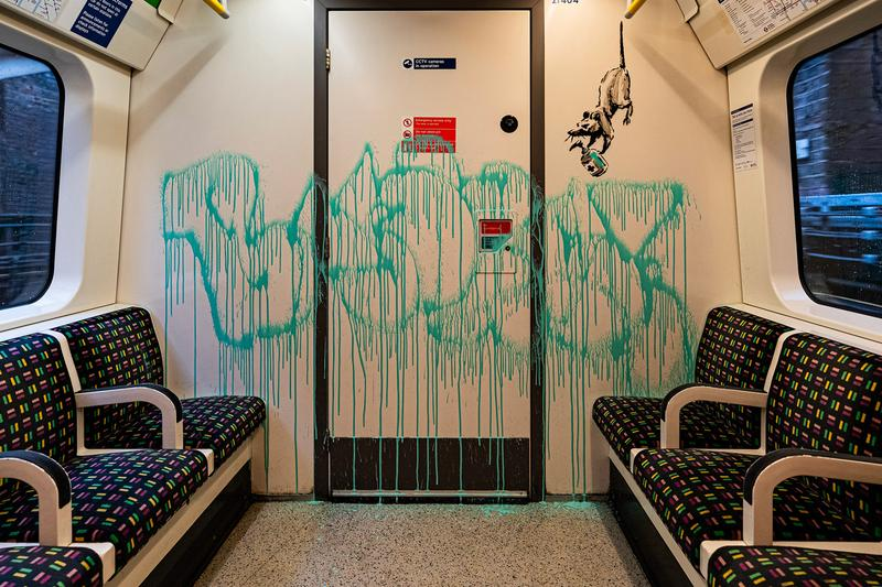 Banksy Latest Artwork Accidentally Removed by Cleaners If You Dont Mask You Dont Get London underground strict anti graffiti policy