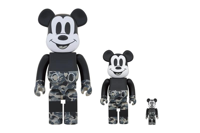 BAPE Medicom Toy Mickey Mouse BEARBRICK 100 400 monochromatic black white japanese toymaker company a bathing ape figures toys collectibles spring summer 2020 collection