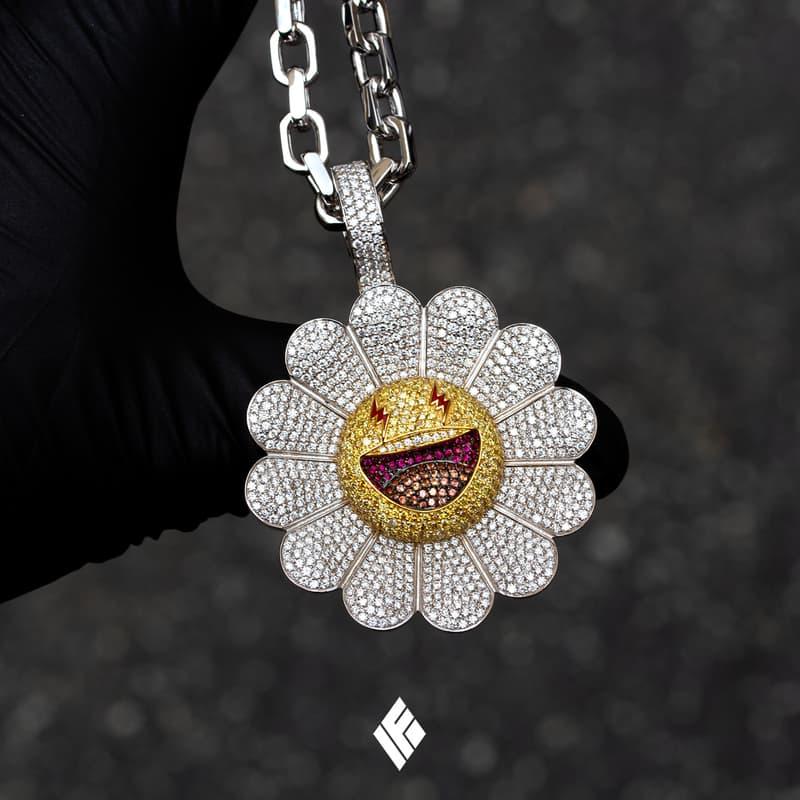 Ben Baller Kurakami Chains for J Balvin 'Colores' flowers superflat smiling bling diamonds gemstones