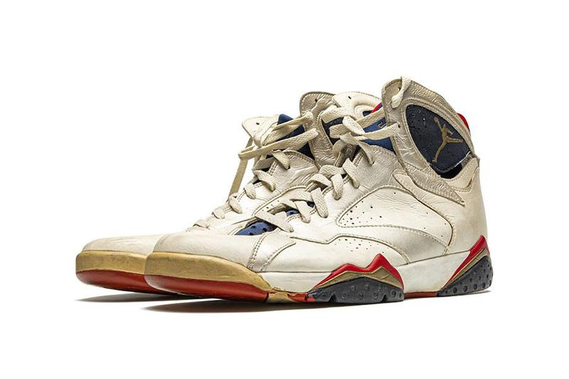 "Christie's and Stadium Goods Jordan Sneaker Auction michael jordan Air Jordan 14 ""Chicago"" practice-worn Air Jordan 7 ""Olympic"" Player Exclusive game-worn Air Ship"