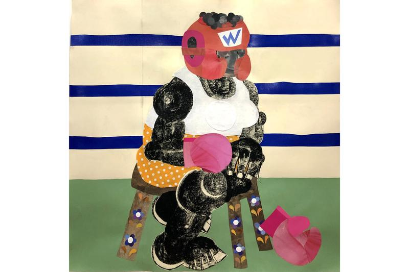 """Clotilde Jiménez """"THE CONTEST"""" Exhibition Mariane Ibrahim gallery black male physicality solo show boxers collage materials fragmentation"""