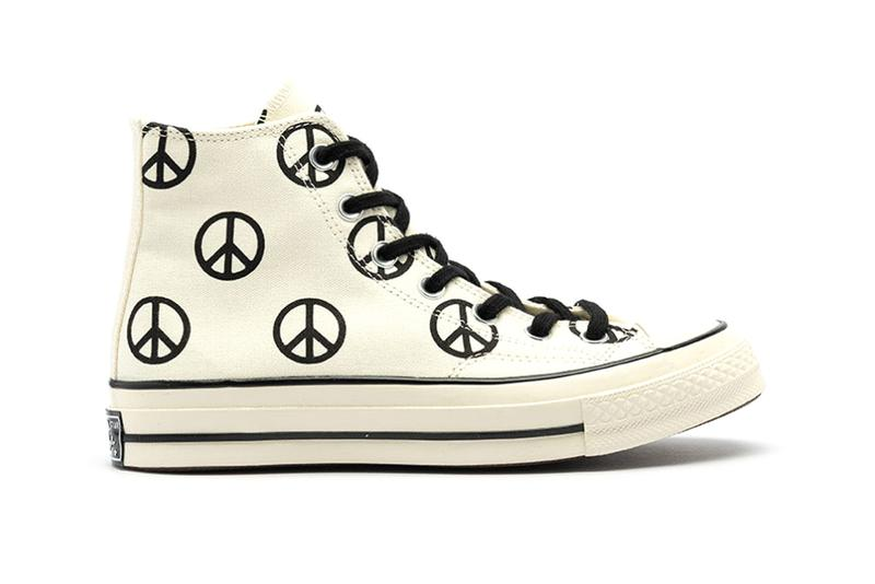 "Converse Chuck Taylor All Star Hi ""Peace"" Release Information Closer Look Footwear Sneaker Drops Hippy Sign Egret Black Shoes Classic"