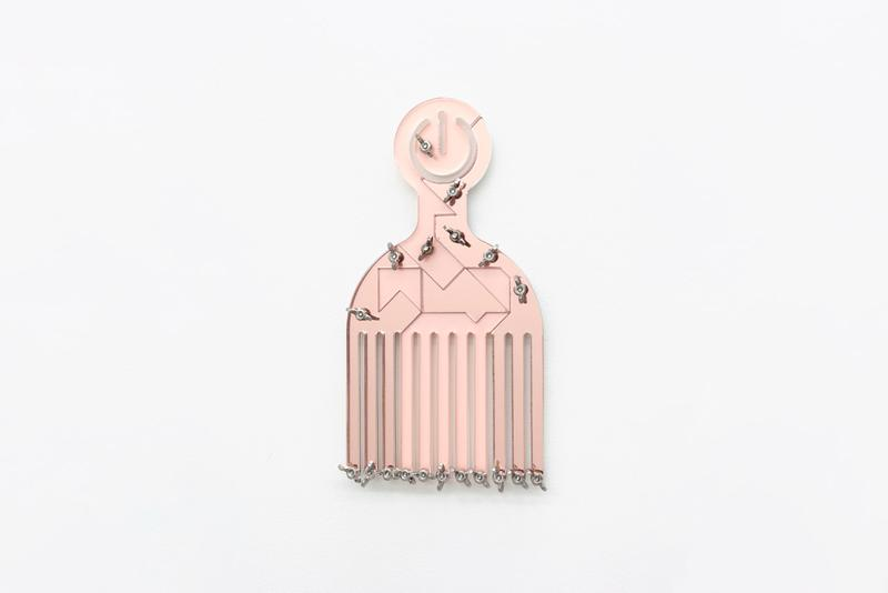 """Damien Davis """"Benefit Suite"""" Collection Sculptures Mrs. gallery Fire Island Artist Residency afro comb pick """"Black power button pick"""" justice organizations black ives matter"""