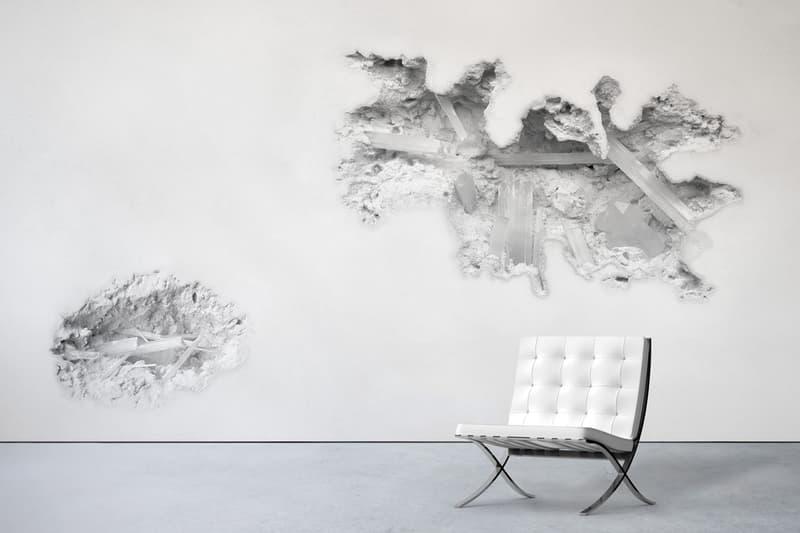 "Daniel Arsham x Calico Wallpaper Release Information Home Decor Design Art 'Erosions' ""Selenite"" trompe l'oeil Perrotin Gallery New York Exhibition 3D Effect"