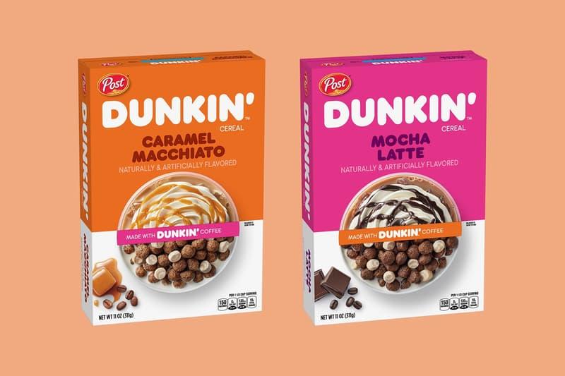 dunkin post caffeinated cereal coffee flavored caramel macchiato mocha latte snacks breakfast
