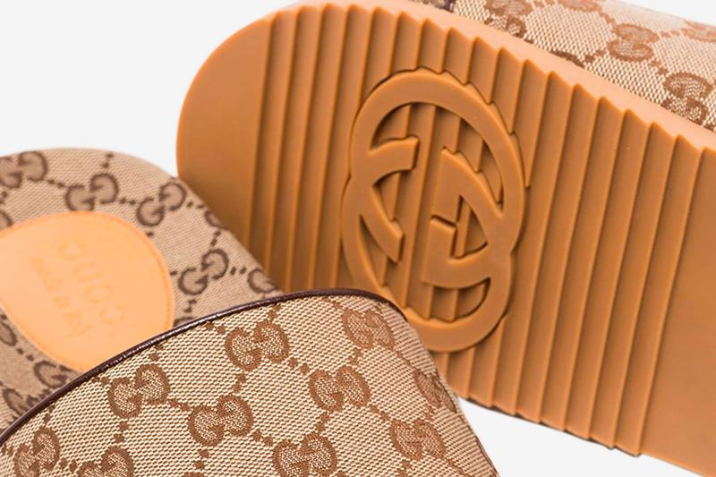 Gucci GG Supreme Sandals Brown menswear streetwear spring summer 2020 collection ss20 footwear slides