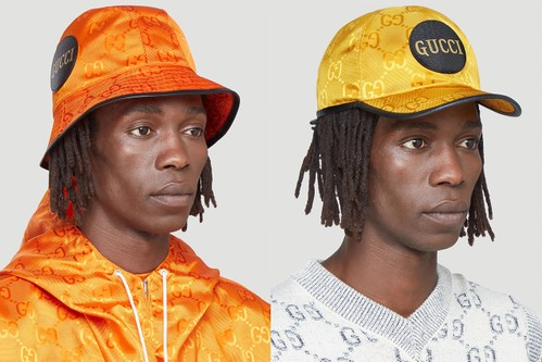 "Gucci Crafts ""GG"" Motif Bucket Hats and Baseball Caps From Sustainable Nylon"