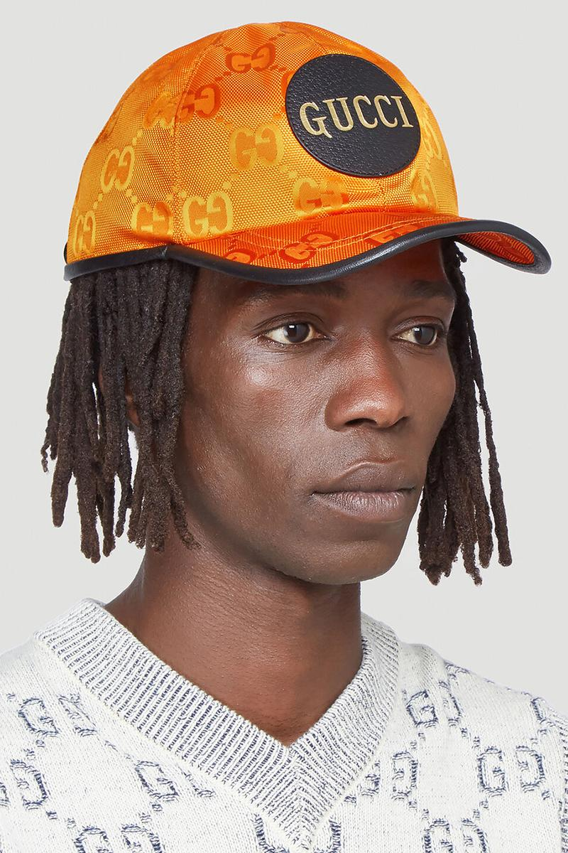 "Gucci Eco-Nylon Bucket Hat Baseball Cap Orange Yellow ECONYL Sustainable Alessandro Michele LN-CC Italian Luxury Label Brand Leather Appliqué Patch FW20 Fall Winter 2020 ""GG"" Motif"