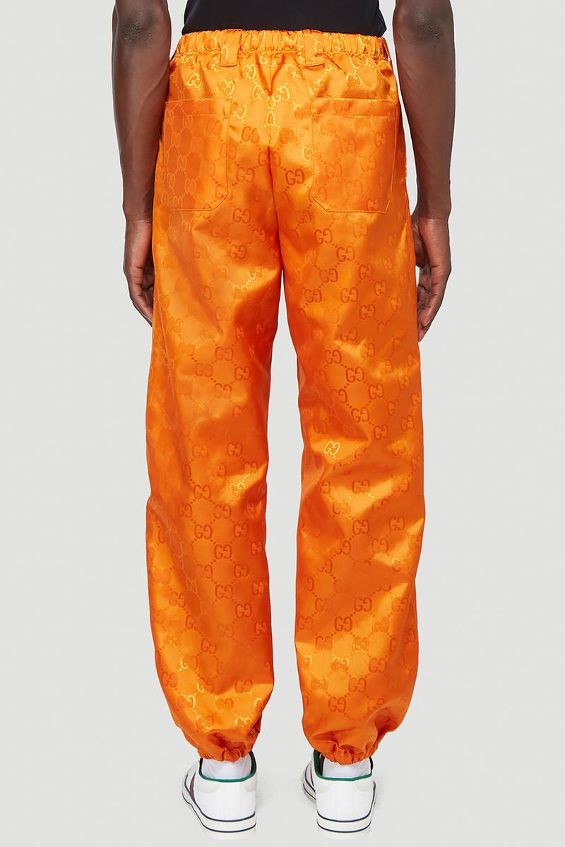 Gucci Eco-Nylon Jacquard Jacket & Track Pants In Orange & Black GG Alessandro Michele LN-CC FW20 Collection Sustainability ECONYL Shell Suits 1980s 1990s
