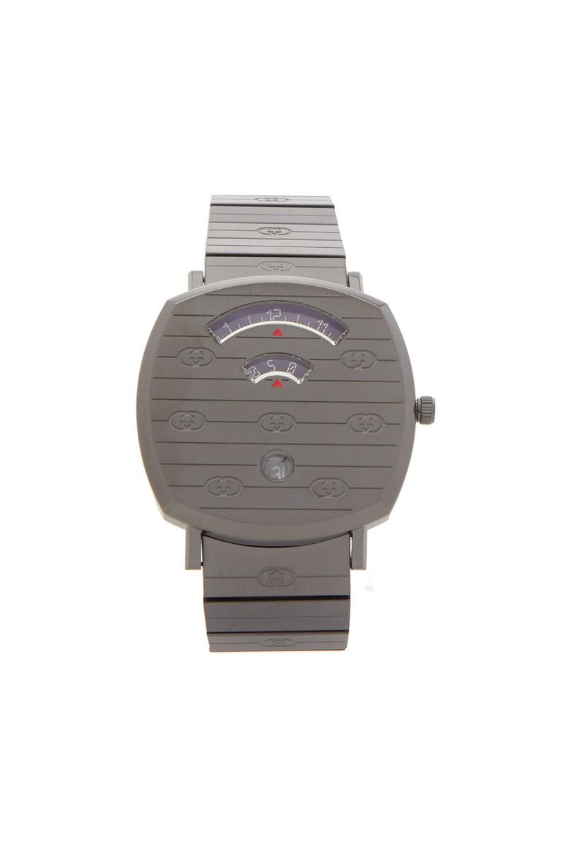 """Gucci Grip Logo-Engraved Metal Watch """"Gray"""" Release Information Timepiece Closer Look MatchesFashion.com Alessandro Michele Switzerland Italy Three Window Skateboarding References"""