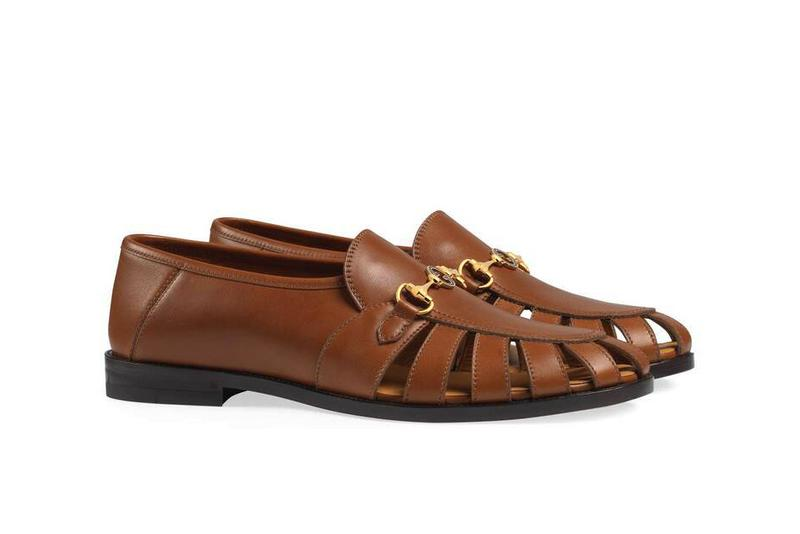 Gucci Brown Men's Loafer With Horsebit collapsible heel leather sandal tan uncle slide john cletta cletas cleta