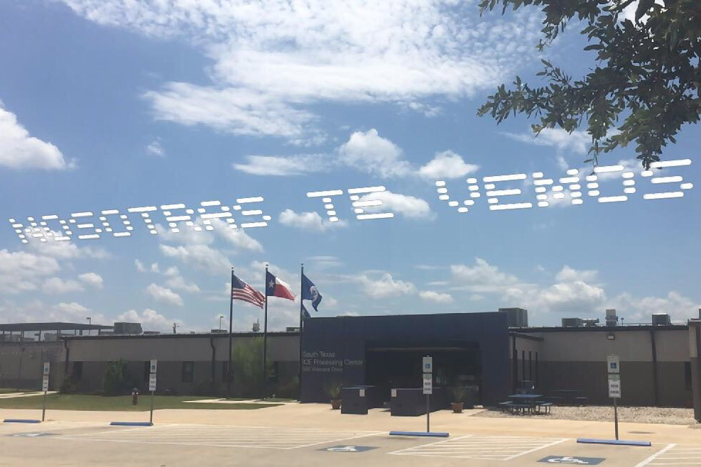 In Plain Sight Aerial Demonstration Migrant Detention Mass Incarceration Independence Day July 3 Messages Sky National Intervention Cassils Rafa Esparza Skytyping messages detention camps facilities centers mass incarceration independence day fourth of july