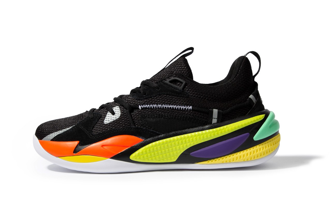 j cole puma hoops rs dreamer basketball shoe black green yellow purple red dreamville official release date info photos price store list buying guide