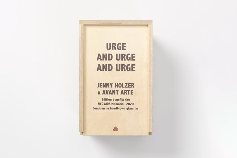 Jenny Holzer and Avant Arte Limited Edition Work 'URGE AND URGE AND URGE' glass jar condoms AIDS New York City AIDS Memorial walt whitman