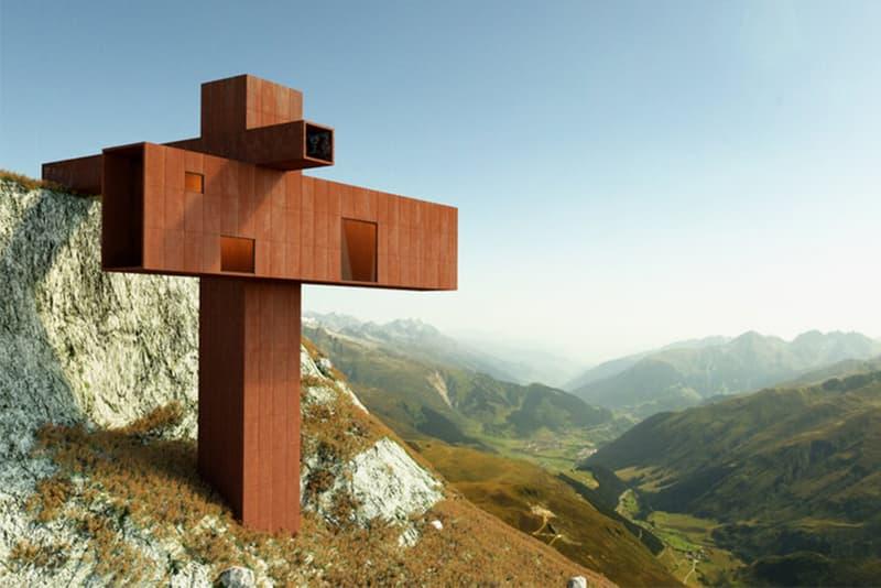 axis mundi XYZ House Takes the Shape of a Corten Steel Cruciform John Beckmann architecture homes houses Wengen, Switzerland