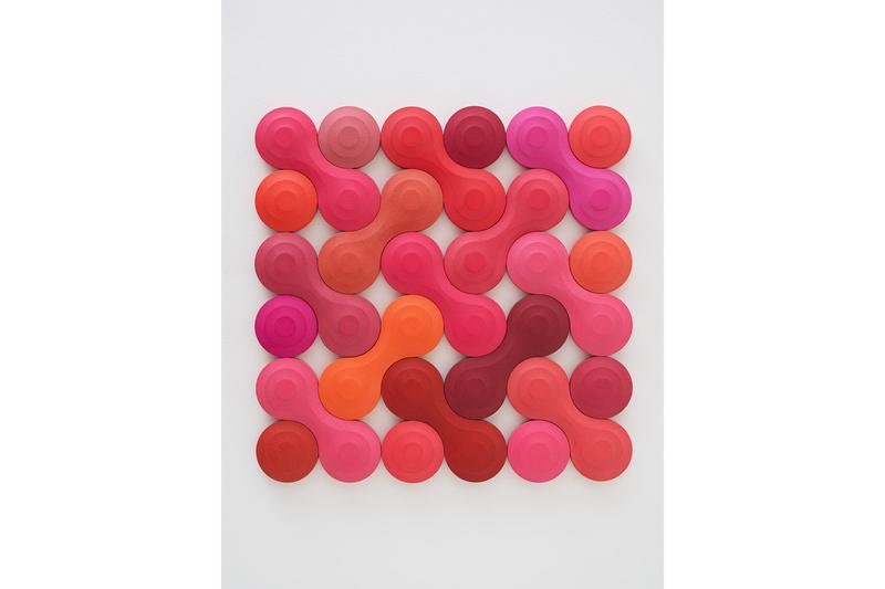 Library Street Collective Josh Sperling Auction alliance platform sculptural work 'Double Bubble M' pink orange red abstract
