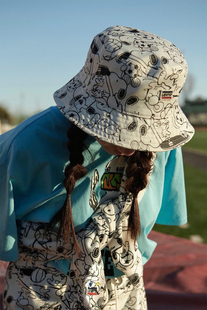 Levis Peanuts Summer 2020 Collection release info unisex football tees reversible bucket hats oversized crewneck sweatshirts tracksuit