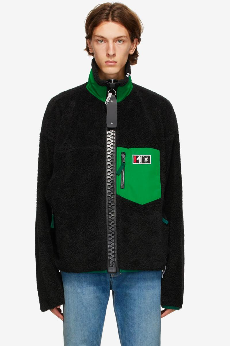 Miharayasuhiro Black Boa Zip-Up Jacket Release JAckets outerwear fleece SSENSE Maison Mihara Yasuhiro