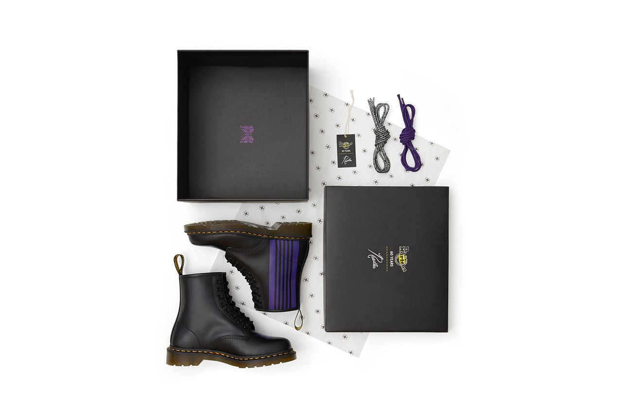 needles 1460 remastered dr doc martens boot black leather purple stripe papillon butterfly information release details