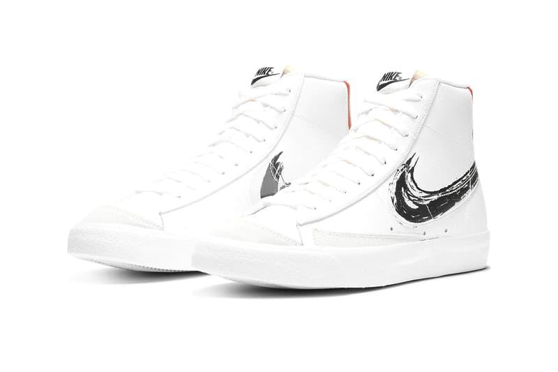 Nike Brush Stroke Swoosh Pack DC4838 100 DA4659 001 DA4657 100 Jordan AF 1 Blazer 77 menswear streetwear spring summer 2020 collection footwear sneakers shoes runners