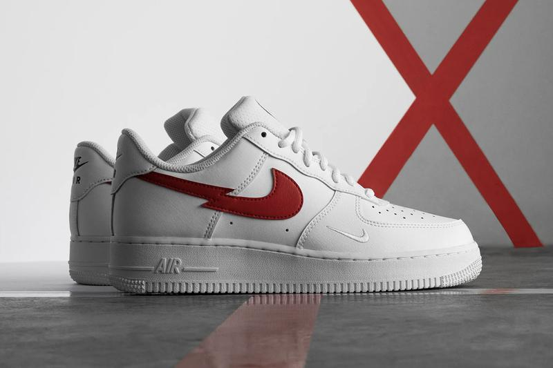 """Nike Air Force 1 LV8 """"Euro Tour"""" """"White/University Red/Midnight Navy"""" Perforated Mesh Tongue Lightning Bolt Split Swoosh Logo Footwear Sneaker Release Information Drop Date"""