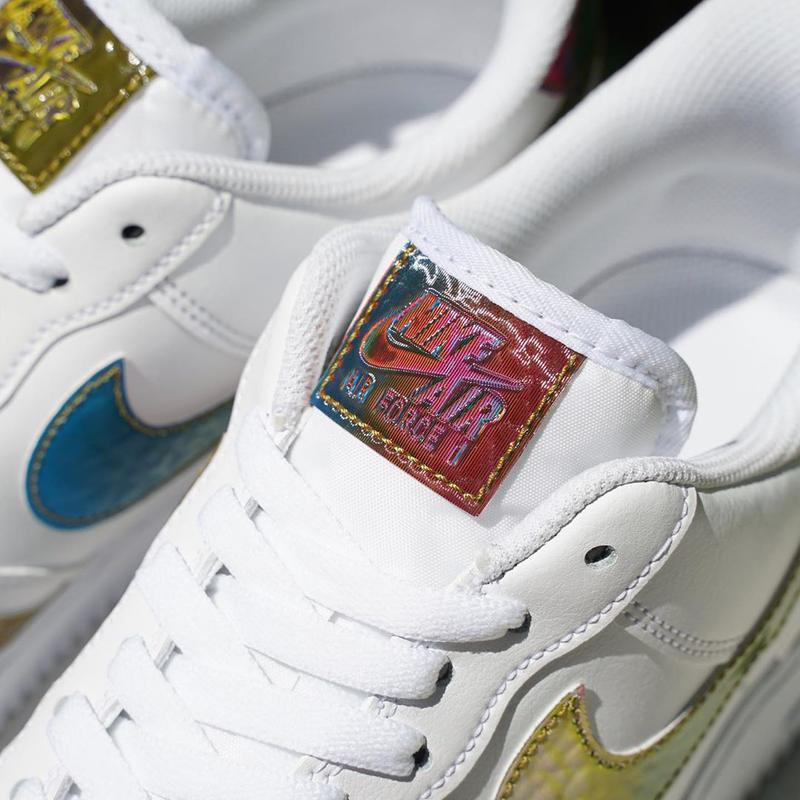 nike sportswear air force 1 low iridescent multi swoosh ck7214 001 101 white black official release date info photos price store list buying guide
