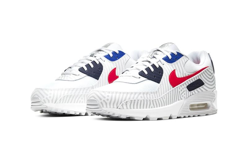 Nike Air Max 90 white University Red Bright Blue midnight navy reflective stripes streetwear trainers runners sneakers shoes kicks ss20 CW7574 100