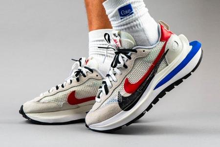 "Take an On-Foot Look at the Sacai x Nike Pegasus VaporWaffle SP ""Sail/Sport Fuchsia/Game Royal"""