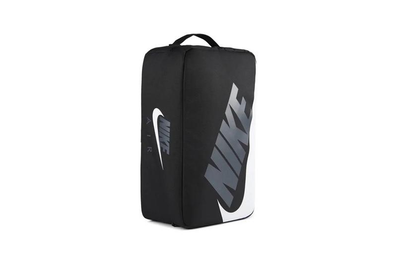Nike Sportswear Black Shoebox Bag NIKE AIR Swoosh Logo Sneaker Box Carry Option Closer Look Release Information Zip Polyester Oregon USA
