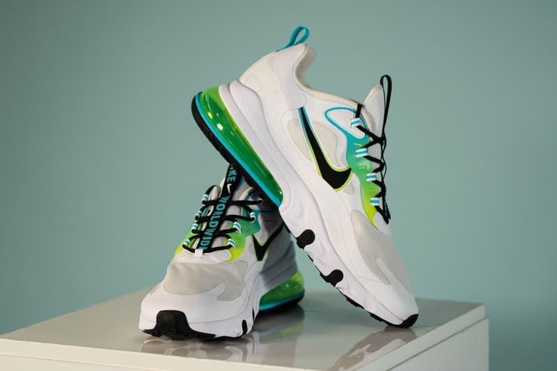 """Nike """"Worldwide Pack"""" Release Information Air Max 95 Air Max 90 Air Max 720-818 MX Air Max 270 React Air Force 1 '07 LV8 Daybreak Drop Date Sneaker Swoosh Footwear Sportswear White Blue Neon Green SE"""