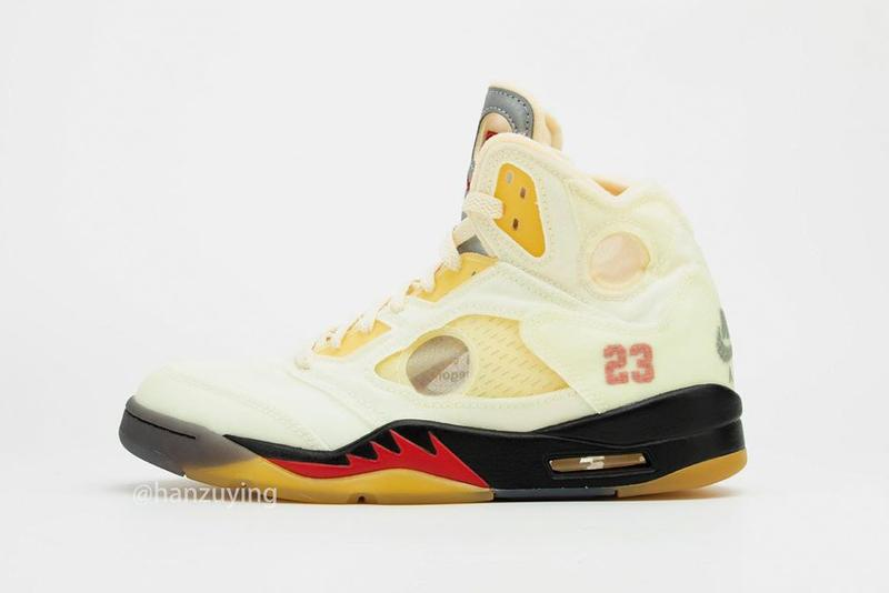 off white air jordan brand 5 sail black fire red red DH8565 100 virgil abloh first official detailed look release date info photos price store list buying guide
