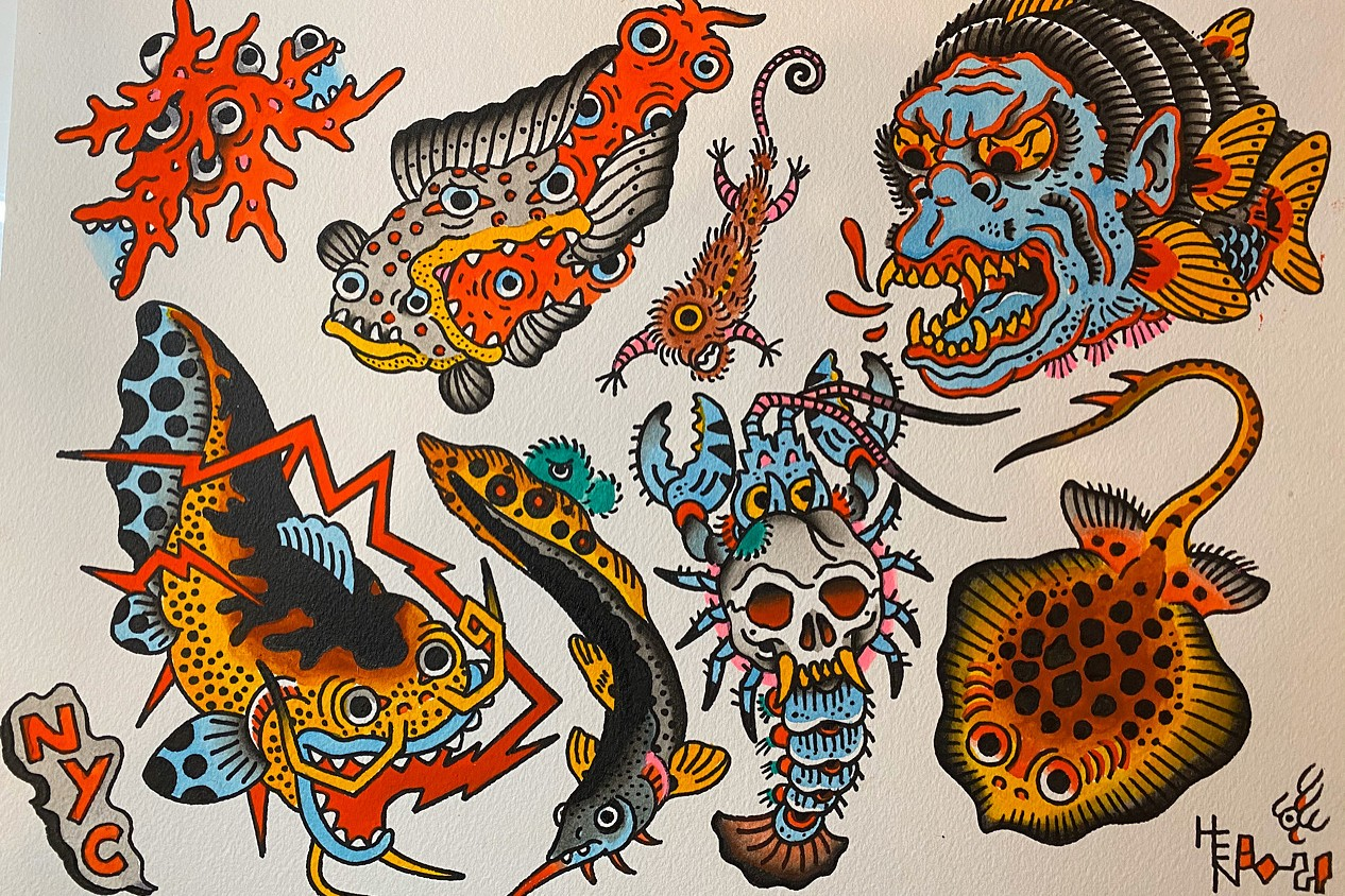 pen and paper henbo henning exclusive interview tattoo invisible nyc good luck artworks flash sheets
