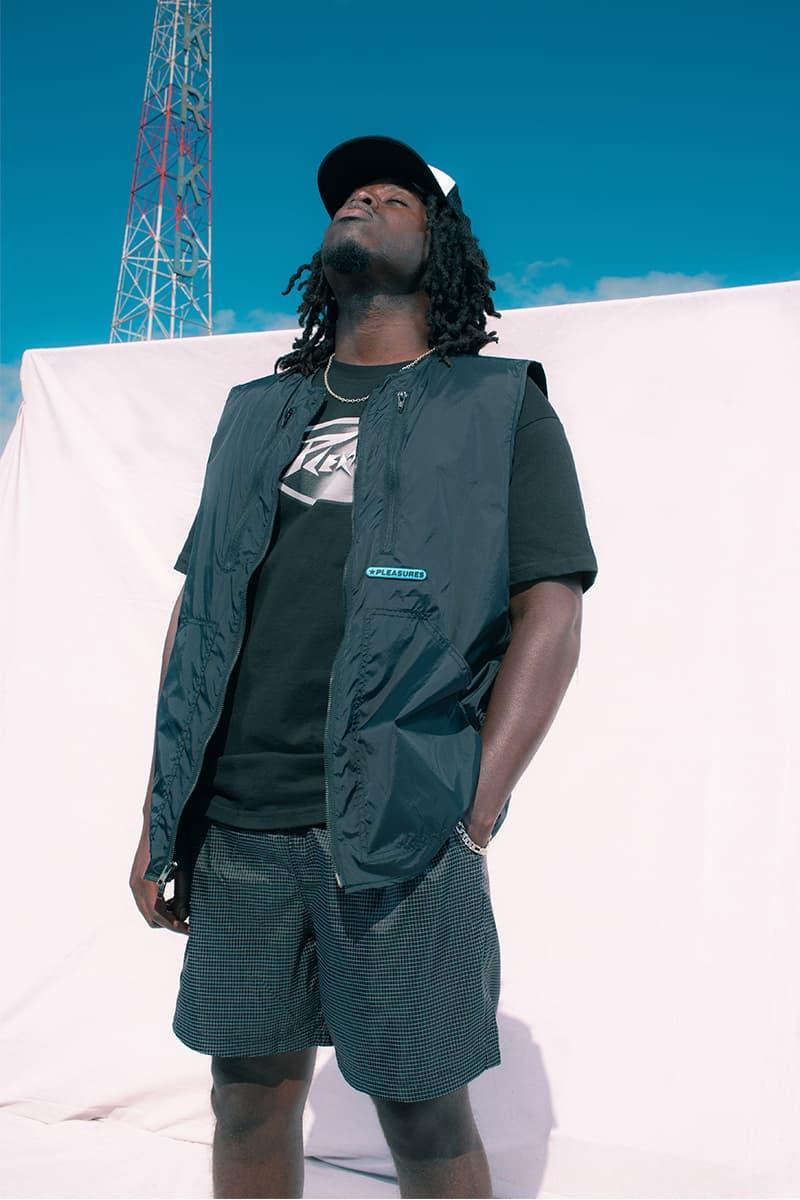 PLEASURES Summer 2020 Collection Lookbook Info Shirt Jacket Polo Hoodie Shorts Reebok Beatnik