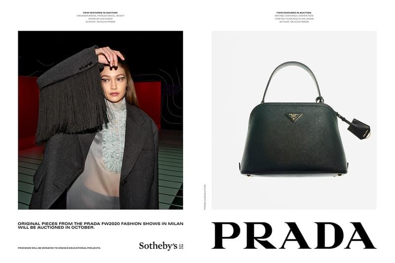 Prada fw20 Sothebys auction fall winter 2020 Italian menswear womenswear fashion runway unesco