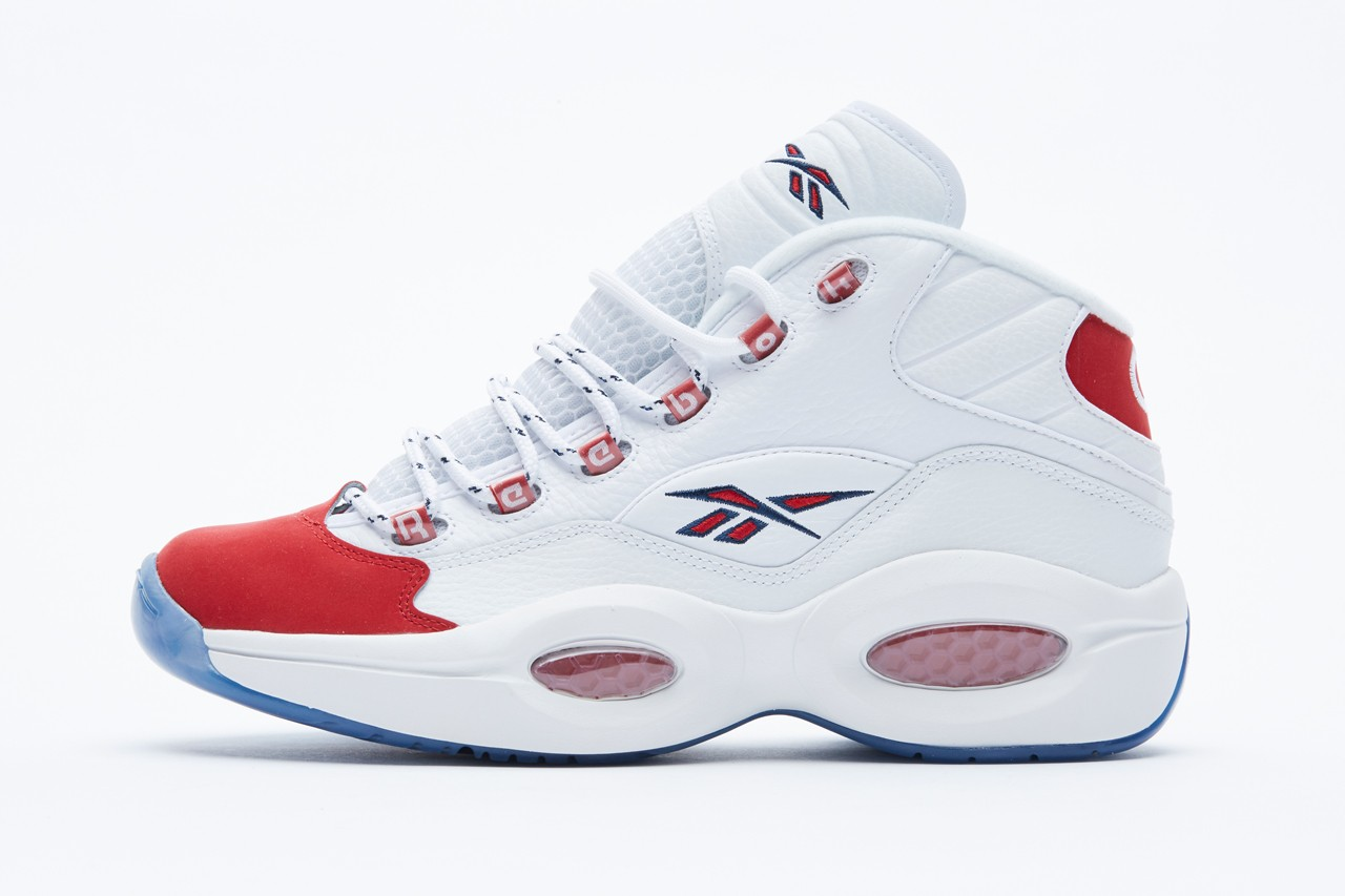 reebok question mid allen iverson white red toe suede 25th anniversary official release date info photos price store list buying guide