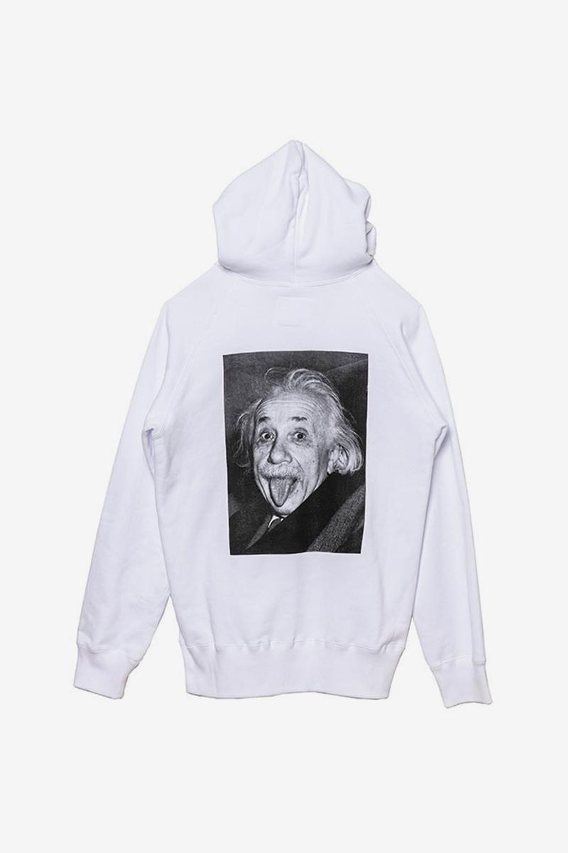 sacai Albert Einstein sticking tongue out photo iconic Monochromatic T Shirt Hoodies menswear streetwear spring summer 2020 collection capsule i believe in intuition and inspiration