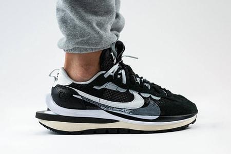 """Here Is sacai's Nike Pegasus Vaporwaffle SP """"Black/Summit White/Pure Platinum"""" on Foot"""